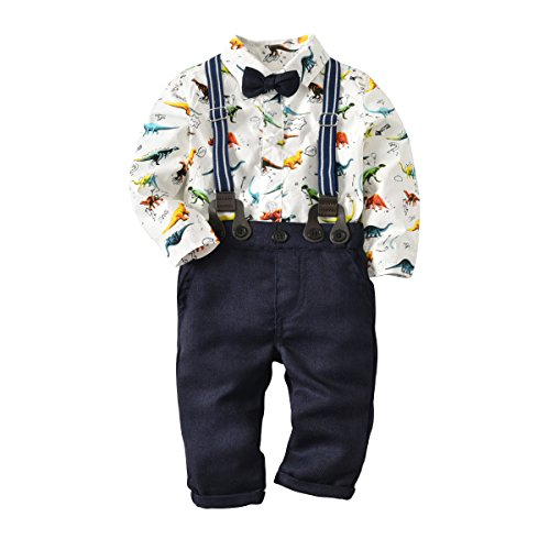 Baby Boys Dinosaur Long Sleeve Shirt Gentleman Pants Clothing Set Overalls Romper Jumpsuit Clothes Toddler Outfit (Dinosaur, 12-18 Months/90) ()