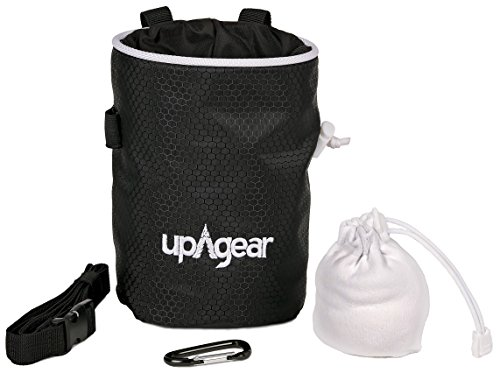 upAgear Quality Rock Climbing Chalk Bag Kit with Refillable Chalk Ball, Belt, Carabiner and Large Zippered Pocket great for Bouldering, Weight Lifting, Gymnastics, Crossfit and Gym Pouch