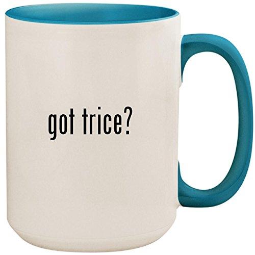 got trice? - 15oz Ceramic Colored Inside and Handle Coffee Mug Cup, Light Blue