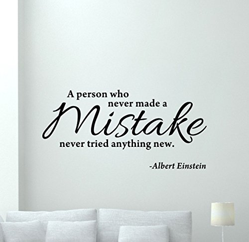 Albert Einstein Quote Wall Decal Vinyl Sticker School College Business Motivation Office Living Room Wall Decor Cool Garage Wall Art Design Bedroom Wall Decor Mural 62thn by CarolGreyDecals
