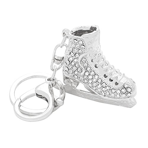 Figure Skating Costumes Designers (Rosemarie Collections Women's Crystal Ice Skate Key Chain Handbag Charm (Silver Tone))
