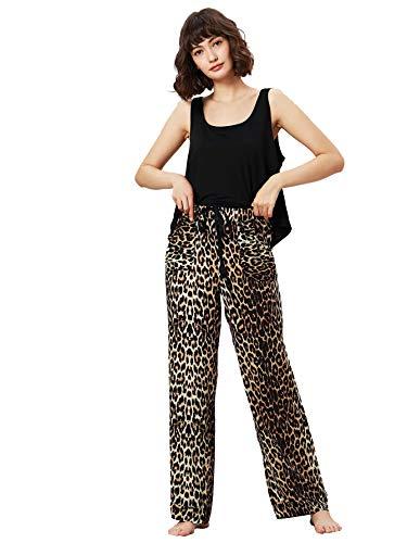 SweatyRocks Women's Cotton Pajama Set Tank Top Sleepwear Set Leopard Print Elastic Waist Pant Pj Set with Pockets Black Large