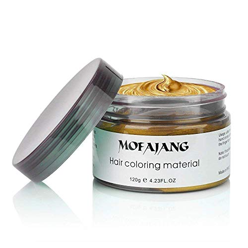 MOFAJANG Unisex Hair Wax Dye Styling Cream Mud, Upgrated Natural Hairstyle Color Pomade, Washable Temporary,Party Cosplay Daily Use - Gold