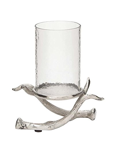 Deco 79 37543 Notable Metal Glass Hurricane - Antler Pillar Hurricane