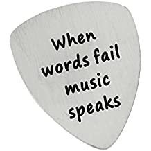 BESPMOSP When Words Fail Music Speaks Stainless Steel Pendant Guitar Pick