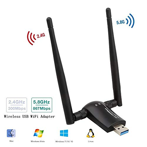 1200Mbps Wireless USB WiFi Adapter,Cofuture 802.11AC Dual Band Long Range 5dBi Wi-Fi Antennas 5GHz 867Mbps/2.4GHz 300Mbps,USB 3.0 for Desktop,Laptop PC with Windows 10/8/7/XP,Mac OS X,Linux 2.6X