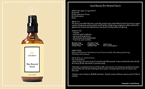 Joyal Beauty Organic Timeless Skin Renewal Serum for Face Skin Eyes. Best Intensive Firming Renewing Resurfacing Solution to Get Your Baby Soft Skin. Enriched with Honey, Royal Jelly, Bee Propolis. by Joyal Beauty (Image #1)