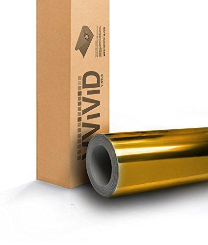 VViViD8 Gold mirror chrome vinyl car wrap 7ft x 5ft self adhesive film decal air release bubble-free