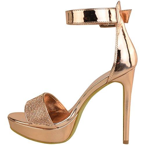 pedrería Altos Sandalias Zapatos Números Fashion Brillante Oro Plataformas Metálico Tacón Mujer Thirsty de Tacones Rosa Fiesta FzztwU1q