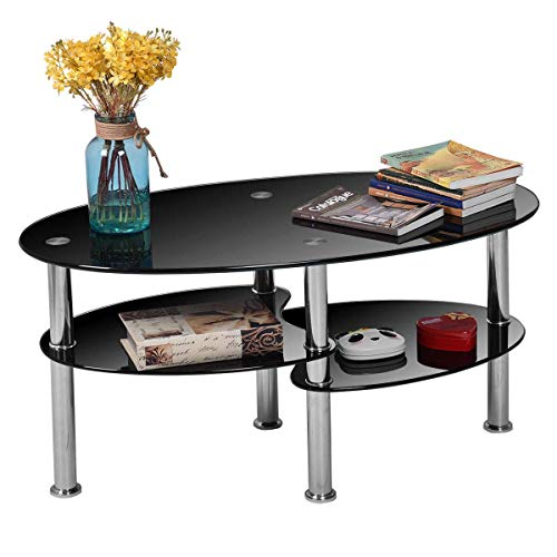 Tangkula Glass Coffee Table 2-Tier Modern Oval Smooth Glass Tea Table End Table for Home Office with 2 Tier Tempered Glass Boards & Sturdy Chrome Plated Legs