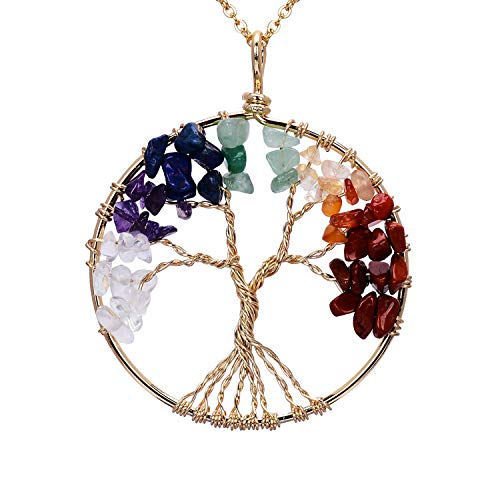 sedmart Gold Wire Wrapped Tree of Life Pendent Necklace Chakra Healing Birthstone Tree Life Jewelry for Family]()