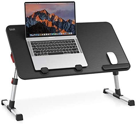 [Large Size] Laptop Bed Tray Table, SAIJI Adjustable Laptop Stand, Portable Lap Desks with Foldable Legs, Notebook Standing Breakfast Reading Desk for Sofa Couch Floor (Black)
