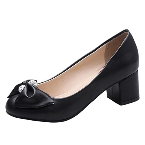 SJJH Bowtie Casual Shoes with Slip-on and Low Heel All Macth Flats Black ySKrQ
