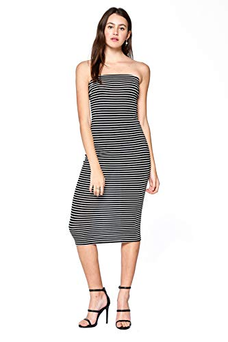 (Khanomak Women's Strapless Stripe Stretch Casual Midi Tube Dress (Black, Large))