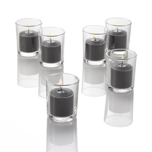Set of 12 Black Richland Votive Candles and 12 Glass Votive Holders