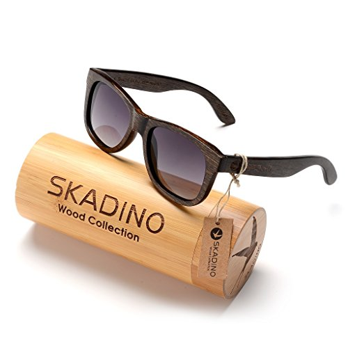 SKADINO Wayfarer Beech Wood Sunglasses with Polarized Lenses-Handmade Floating Wooden Shades for Men & Women (Wayfarer Polarized Lens Sunglasses)