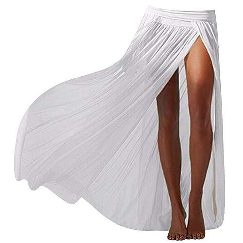 Adela Sexy Mesh Maxi Skirt Beach Cover-ups Slit Gauze Wrap Skirts for Women (White)