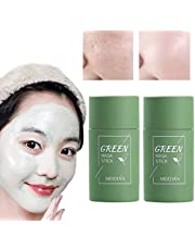 2PCS Green Tea Purifying Clay Stick Mask Oil Control Anti-Acne, Blackhead Remover, Natural Face Moisturizes Oil Control, Deep Clean Pore, Improves Skin for All Skin Types