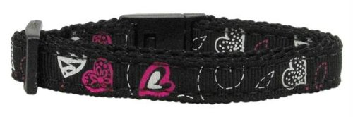 Mirage Pet Products Crazy Hearts Nylon Cat Safety Collars, Black