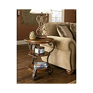 Signature Design by Ashley – Nestor Traditional Chairside End Table w/ Two Shelves, Medium Brown