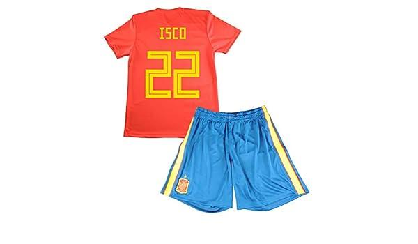 Equipación de ISCO. Réplica Oficial de la Primera Equipación de la Selección Española para el Mundial de Rusia 2018 (Rojo, Talla 14): Amazon.es: Deportes y aire libre