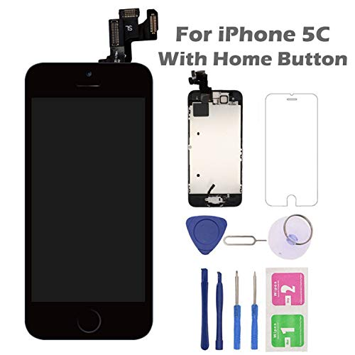 for iPhone 5C Screen Replacement with Home Button, Arotech 4.0 Inch Full Assembly LCD Display Digitizer Touch Screen with Repair Tool Kit and Tempered Glass