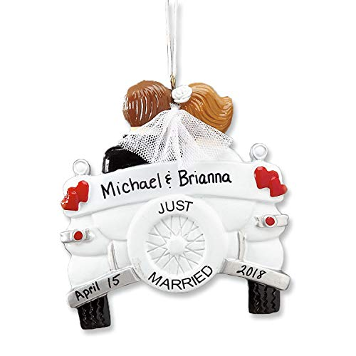 Lillian Vernon Personalized Just Married Christmas Resin Ornament - Wedding Ornament Gift