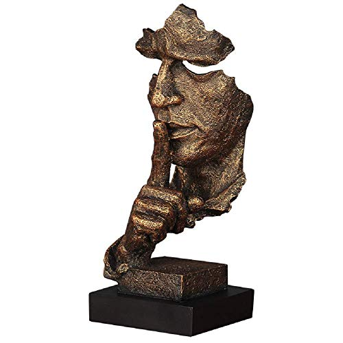 (Abstract and Creative Desk Decorations The Thinker Statue, Hand & Face Statues and Sculptures for Home Living Room Decor (Silence Gold) )