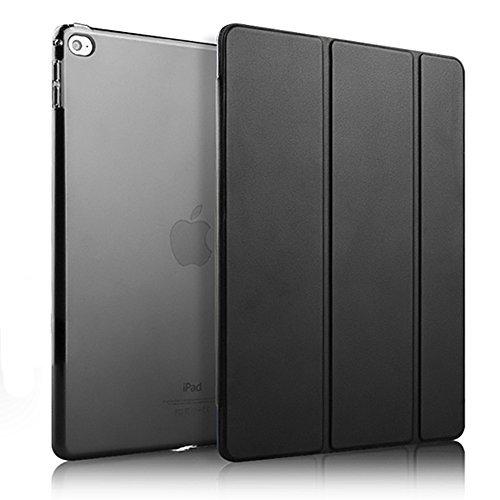 iPad Mini 4 Hülle Auto aufwachen / Schlaf Funktion Ledertasche Leichtgewicht Anti-Kratzer Schutzhülle mit durchschaubar Rückseite Abdeckung für iPad mini 4 (Schwarz)