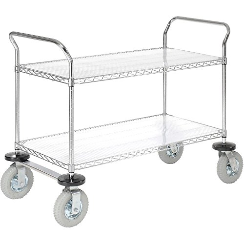 Nexel 2 Wire Shelves Utility Cart, Pneumatic Wheel Casters, Chrome Finish, 24