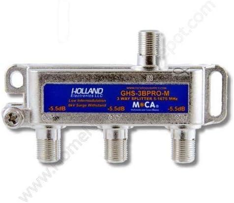 HOLLAND ELECTRONICS 3-Way Balanced Splitter MOCA Compliant 5-1675MHz