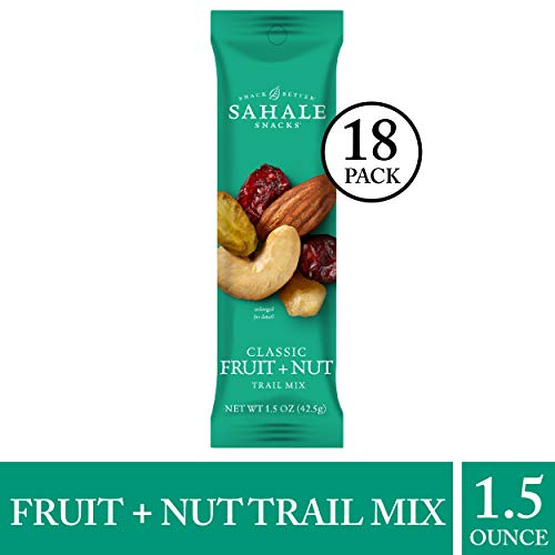 (Sahale Snacks Classic Fruit and Nut Trail Mix, 1.5 oz., Pack of 18 - Dried Fruit and Nuts Mix in Grab and Go Size - Gluten Free Snacks with No Artificial Preservatives or Flavors)