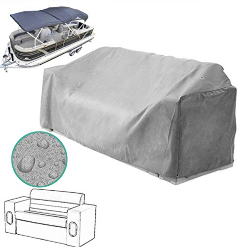 ZUINIUBI Pontoon Boat Seat Covers-Heavy Duty Pontoon Lounge Chair Waterproof Cover-Anti-UV Dust Protector with Elastic Rope Edge, Easy to Attach 56x23x29inch (Pontoon Lounge)