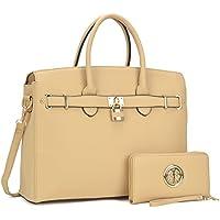 Dasein Women's Top Handle Satchel Handbags Designer Tote Purse Shoulder Bag Faux Leather Padlock Briefcase Laptop Bag