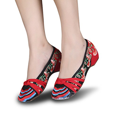 Veowalk Rainbow Embroidered Women's Cotton Flat Shoes Slip on Ladies Casual Comfort Canvas Boat Ballets EU37 ()