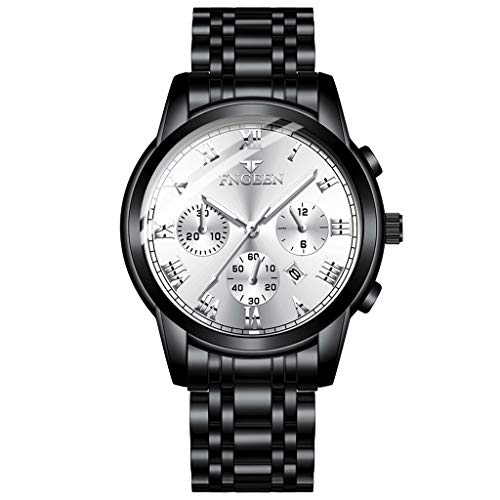 - Sodoop Quartz Watches for Mens, New Business Casual Luxury Fashion Men Stainless Steel Calendar Multi Needle Sports Comfortable Waterproof Chronograph Quartz Watch (G)