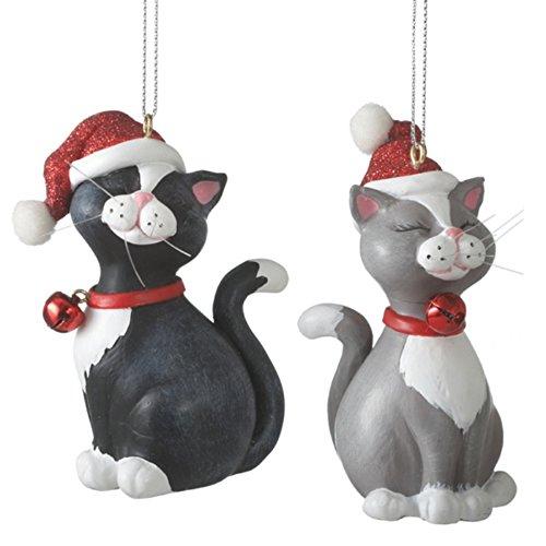 Santa Hat Cat Resin Christmas Ornaments Set of 2 - Grey Cat Ornament