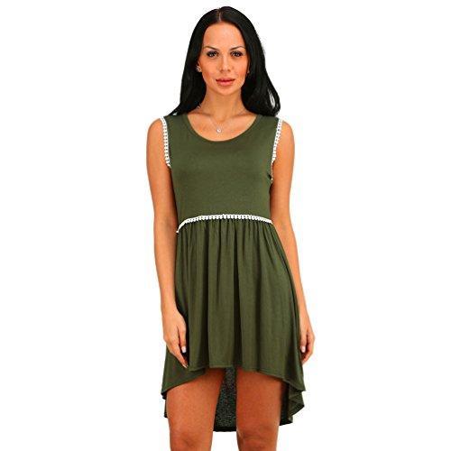 ZhiYuanAN Damen Einfarbig Mini Ärmelloses Gemütlich Loose T-Shirt-Kleid Armee dWRnJuhL