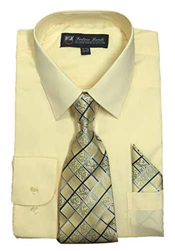 """- Fortino Landi Men's Long Sleeve Dress Shirt With Matching Tie And Handkerchief (16-16.5"""" Neck 36/37"""" Sleeve (Large), Canary)"""