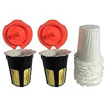 DSRG®Keurig Carafe Reusable Kcup GOLD FILTER MESH Combo Set Deluxe K2.0-NEW Updated Model-2x CARAFE Reusable K-cups +10x FREE CARAFE Disposable Filter Paper Refined Model | K500, K400, K300 and K200 Models