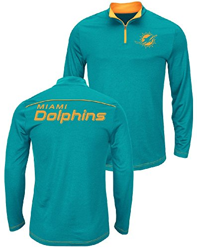 Majestic NFL Miami Dolphins Aqua Quarter Zip Ready & Willing Thermabase Synthetic Jacket (XX-Large) (Majestic Trainer Jacket)