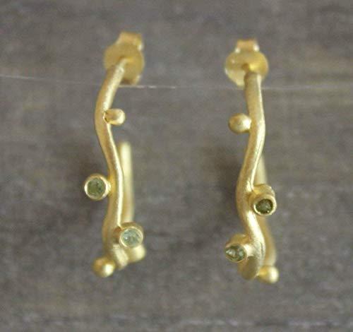 - Peridot Gold Plated Sterling Silver Hoop Earrings
