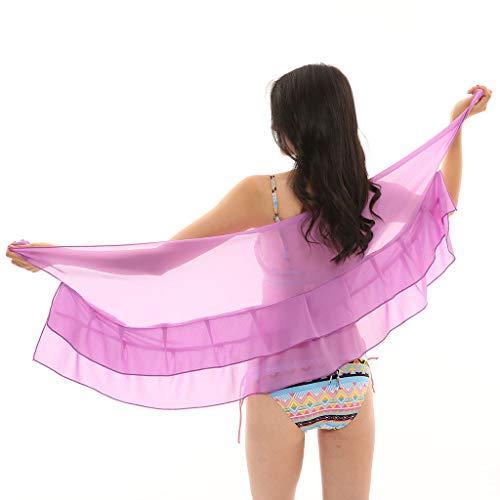 Cardigo Womens Chiffon Skirt Sunscreen Shawl Beach Bikini Swimwear Wrap Coverup Swimsuit Purple by Cardigo (Image #3)