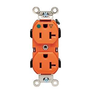 Leviton 8300-OIG 20-Amp, 125V, Narrow Body Duplex Receptacle, Straight Blade, Hospital Grade, Isolated Ground, Orange