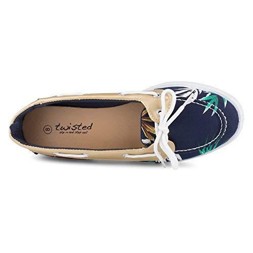 Twisted Women's Bonnie Contrast Stitched Canvas Athletic Boat Shoe - BONNIE740 Navy, Size 11