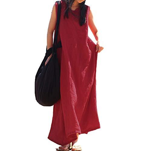 Casual O Neck Sleeveless Loose Long Vestido Cotton Linen Baggy Beach Party Vest Tank Dress,Red,L (9 Cloud Long Bar Beach)