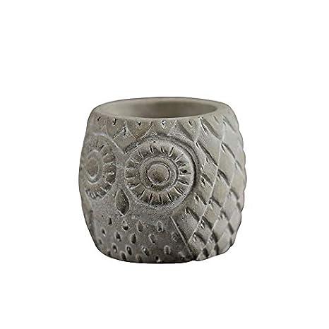 Molde de silicona para maceta de hormigón, redondo, con patrón de búho, hecho a mano, jarrón de cemento: Amazon.es: Juguetes y juegos
