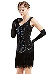 Black V Neck Beaded Fringed Great Gatsby Dress