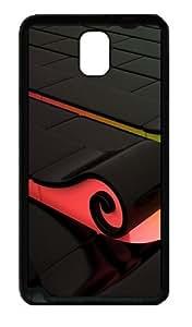 3D Colorful Waves Custom Designer Samsung Galaxy Note 3 / Note III/ N9000 - TPU - Black