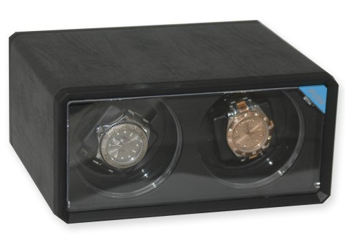 Diplomat Double Black Leatherette Watch Winder with Blue LED's -